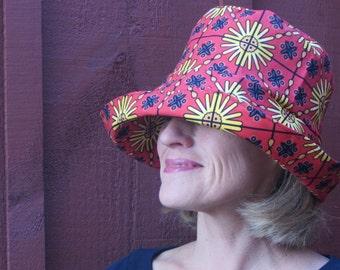 Packable Sun Hat - Floral Sun Hat -  Made in Maine - Bucket Hat - Ladies Sun Hat - Wide Brim Sun Hat