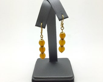 Vintage Baltic Amber Earrings ~ Natural Honey Amber ~ Pressed Amber Beads