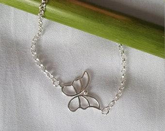Thin silver bracelet 925 Butterfly
