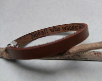 Men's Bracelet with Secret Love Message. Hand Engraved Water Buffalo Brown Leather Bracelet, Leather Bracelet, Brown Bracelet, Love Message