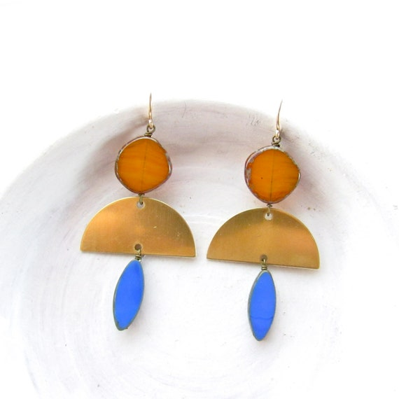 Half Moon Earrings > Brass