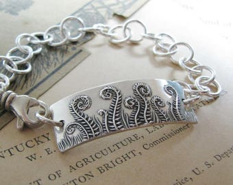 Fiddlehead Bracelet, Fine and Sterling Silver Fern Bracelet, Personalization Available, SilverWishes Original and Exclusive