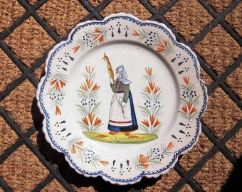 Antique Quimper Plate Peasant with Distaff HenRiot Quimper Mark French Country Pottery