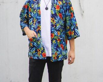 Men's Blue Floral Hawaiian Noragi Jacket, Man Kimono Cardigan, Oversized Japan Summer Haori , Unisex Summerwear, Loose Style Beach Yukata