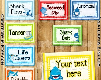 Shark food tent cards Shark tent cards Name cards Place cards Table decorations Shark birthday Table decor Shark party food labels 12 PRECUT
