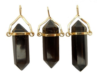 15% off Smokey Quartz double terminated Point Pendant with Gold Plated Cap and Bail (S52B23b-06)