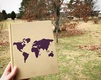 Custom Hand Painted Journaling Bible - World Map