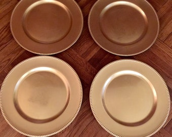 Gold Plate Chargers Set of Four