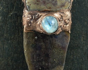 Copper Electroformed Pendant with Agate and Round Moonstone