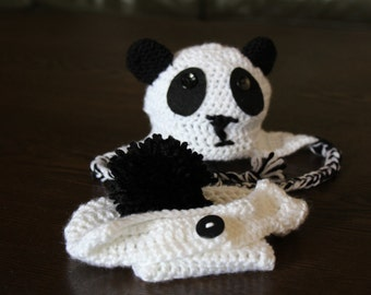 Panda crochet baby hat and diaper cover