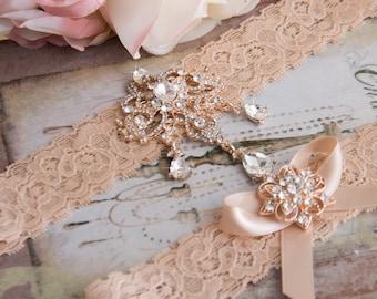 Rose Gold Wedding Garter Set, Blush Bridal Garter Set, Blush Lace Garter, Lace Wedding Garter, Rose Gold Garter