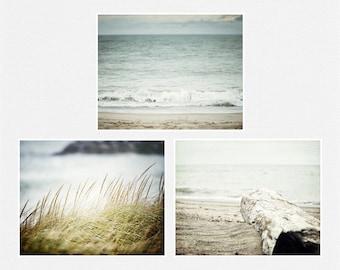 Blue Beach Decor Set, Beach Prints or Canvas Art, Ocean Art Set of 3 Landscape Prints, Beach Art, Aqua, Turquoise, Beach Pictures.