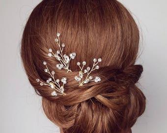 Bridal Hair Piece, Hair Vine, Hair Comb, Gold Hairpiece, Gold Hair Pins, Wedding Headpiece, Crystal Hair Piece, Vine Hair Piece, Hair PIns