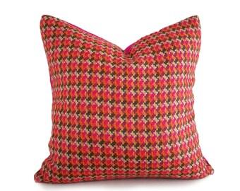 Orange Pink Plaid Pillow, Pink Bohemian Pillow, Pink Wool Pillows, Textured, Fuchsia Orange Green, Retro Plaid Cushion, Zipper Pillow, 18x18