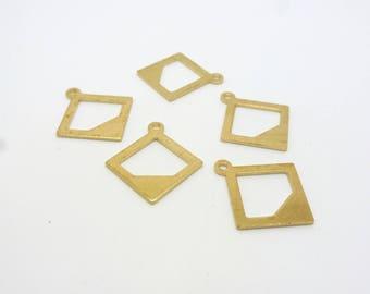 10 charms geometric Rhombus 18.6 * 12 mm raw brass (USBL03)