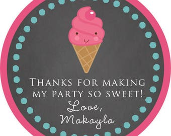 Personalized- Ice Cream Cone Birthday Party Thank You Stickers, TagsPrinted & Shipped or DIY