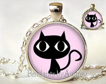 Black Cat Necklace,Cat Jewelry,Cat Pendant,Cat Necklace,Cat Picture,Gift,Art Pendant,Picture,Kitten,Glass,Gift for her,Cat Lover,Charm,Cute
