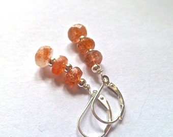 Sunstone earrings, sterling silver earrings, stacked earrings