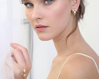 Leaf earrings, Gold earrings, stud earrings, Gold leaf earrings, gold stud earrings, simple stud earrings