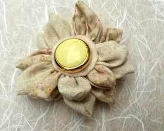 Beige floral fabric flower brooch, kanzashi brooch, fabric brooch, beige brooch, brooches and pins, ladies brooch, ladies accessories.