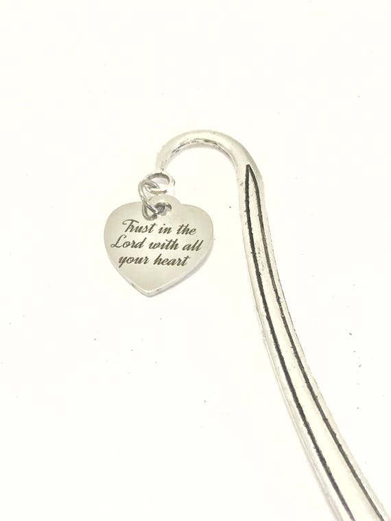 Trust In The Lord With All Your Heart Bookmark, Reader Gifts, Bible Bookmark, Planner Accessories, Stocking Stuffers, Planner Bookmark
