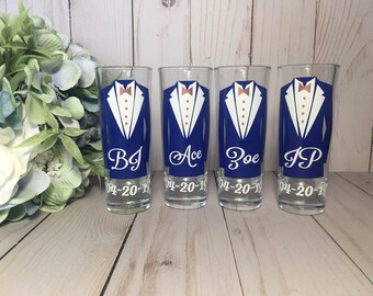 Personalized Shot Glasses with Tuxes, Groomsmen Wedding Glasses, will you be my groomsman, groomsman gifts, wedding party gifts, Rose Gold