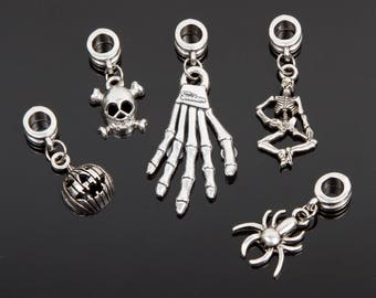 5 Silver, assorted Halloween charms