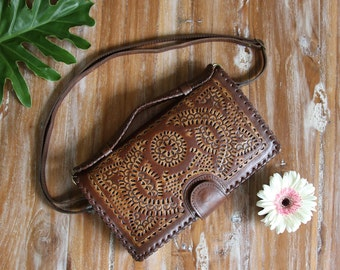Big Leather wallet / women's leather wallet and shoulder bag / leather purse / leather clutch /Organizer wallet