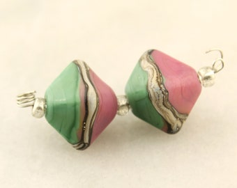 Lampwork Beads, Earring  Pair, Turquoise Green  Pink ,  Matte Etched Bicone