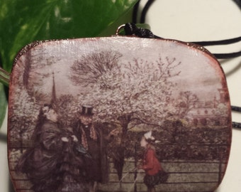 When You Meet Grown Up People in the Garden Pendant.  Vintage Image by Arthur Rackham.  Hand Made Paper Pendant