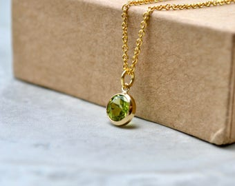 Peridot Necklace, Dainty Gemstone Necklace, Green Peridot Gold Filled Necklace, August Birthstone Gifts, Peridot Jewelry, UK, Gift for Women