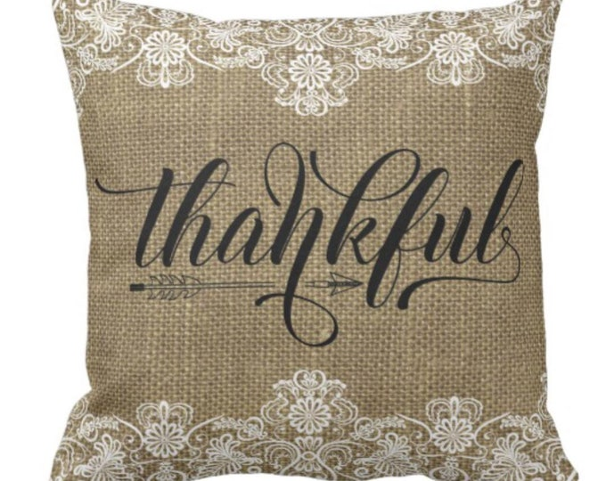 "Throw Pillow Burlap and Lace Design ""Thankful"""