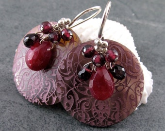 Ruby earrings, handmade etched shell and garnet earrings in sterling silver-OOAK