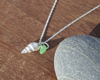 Silver shell necklace with beach glass/sea glass charm, sea glass necklace, beach glass necklace, green glass, cornish jewellery