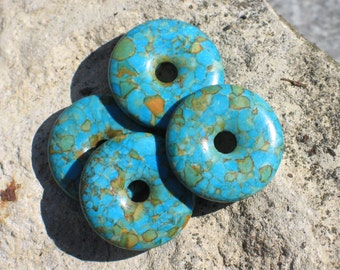 Assembled turquoise donut pendants DO002
