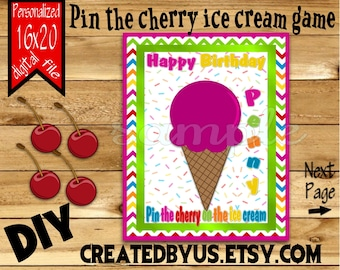 Pin the cherry to the ice cream PRINTABLE party game Candy Birthday Party Game ideas Pin the Tail DIY 16x20 Printable game poster Digital