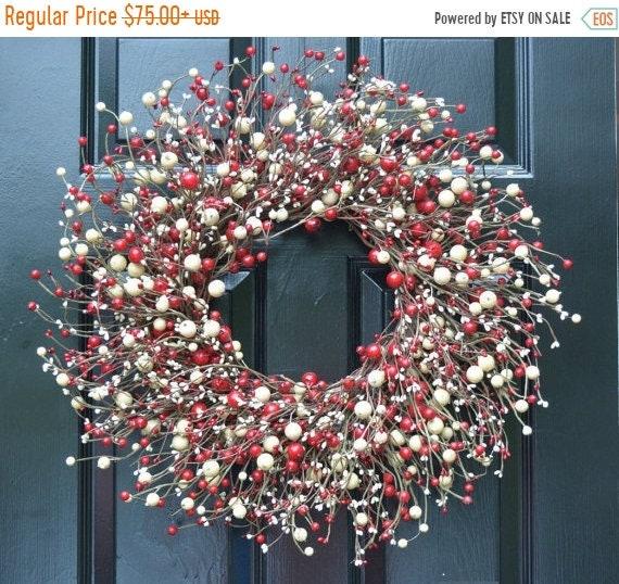 SUMMER WREATH SALE Red and Cream Berry Wreath- Valentines Day Wreath- Door Wreath- Year Round Wreath- Christmas Wreath-Winter Wreath-Candy C