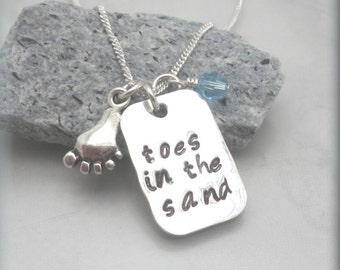 Toes in the Sand Necklace, Beach Jewelry, Beach Necklace, Sterling Silver, Handstamped, Summer Necklace, Ocean Lover, Love the Beach