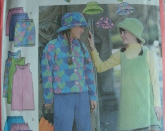 Girls Jacket, Skirt, Pants and Hat Girls Size 7-8-10 Butterick GIrls Fast & Easy Pattern 5721 Rated Very Easy to Sew UNCUT 1998