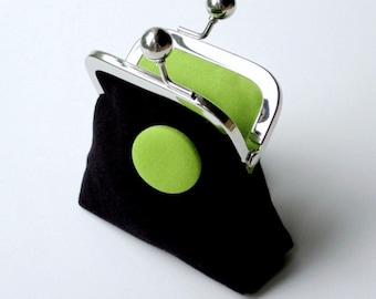 Black and lime green organic canvas coin purse with matching button detail...small change purse...ecofriendly materials...last one!