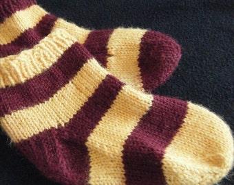 Socks - Knit -Stripes - Gold and Burgundy - Gryffindor