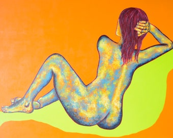Orange woman-woman's silhouette painting on her back.