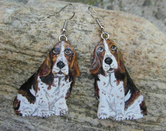 """Basset hound"" earrings made of cold porcelain & silver"