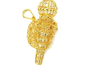 Limited Edition - 18K 21K 22K Yellow Gold Idol Singer Pendant Necklace Distinctive  Jewelry for Her
