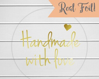 Handmade with Love stickers, Gold Foil on Clear Transparent Stickers, Gold Foil Handmade with love labels (#147-CF)