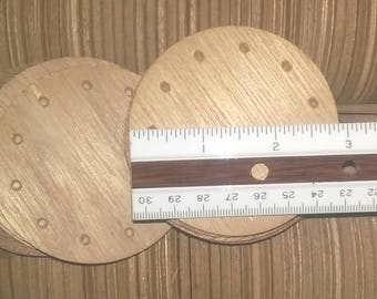 LoT 30 Round Basket Bases_ 3 inch_Wood_Weaving Pine Needle NOS