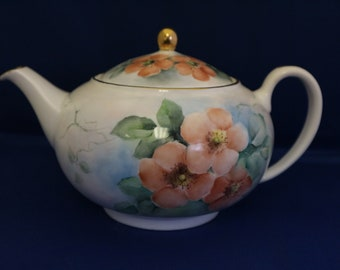 Hand painted teapot with wild rose design