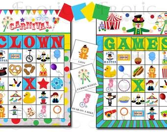 Circus Carnival Bingo 20 printable cards INSTANT DOWNLOAD