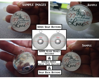 Snap Buttons Included 30mm Snap Button Bases 30mm Glass Dome Cabochons & Double Sided Circle Adhesive Tapes 30MM Snap Button Kit Sweet Gifts