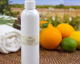Unscented certified organic Shampoo or Body Wash-great lather! 8oz